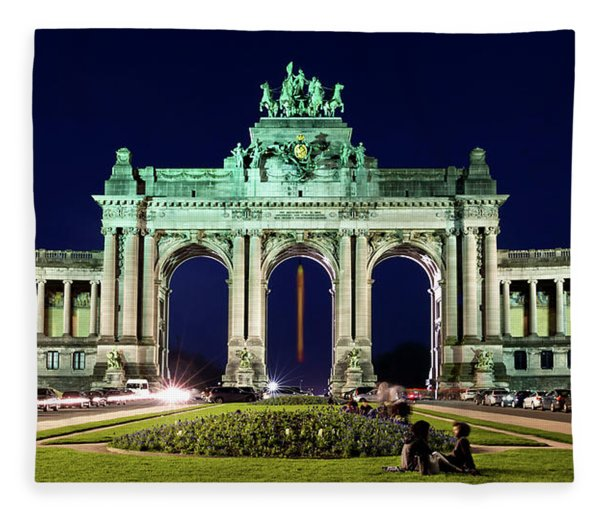 Fleece Blanket featuring the photograph Arcade Du Cinquantenaire At Night - Brussels by Barry O Carroll