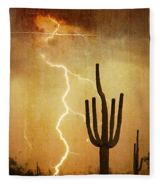 Arizona Saguaro Lightning Strike Poster Print Fleece Blanket