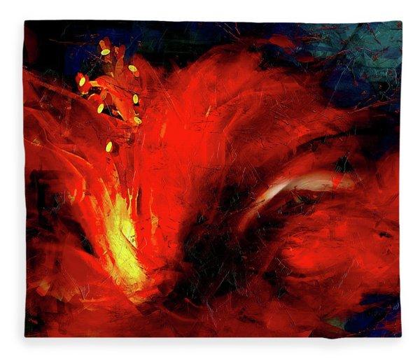 In Red Abstract Hibiscus Fleece Blanket