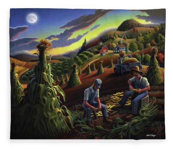 Autumn Farmers Shucking Corn Appalachian Rural Farm Country Harvesting Landscape - Harvest Folk Art Fleece Blanket