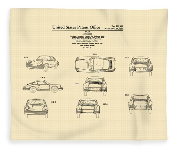 Porsche 911 Patent Fleece Blanket