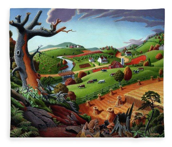 Appalachian Fall Thanksgiving Wheat Field Harvest Farm Landscape Painting - Rural Americana - Autumn Fleece Blanket