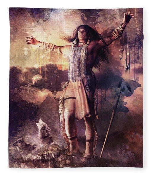Wolf Clan Warrior Fleece Blanket