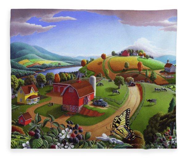 Folk Art Blackberry Patch Rural Country Farm Landscape Painting - Blackberries Rustic Americana Fleece Blanket