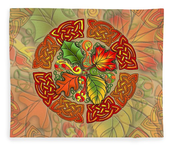 Celtic Autumn Leaves Fleece Blanket