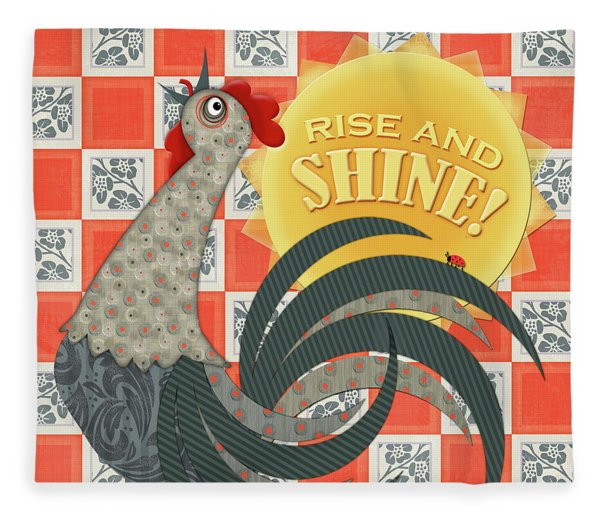 Good Morning Rooster Fleece Blanket