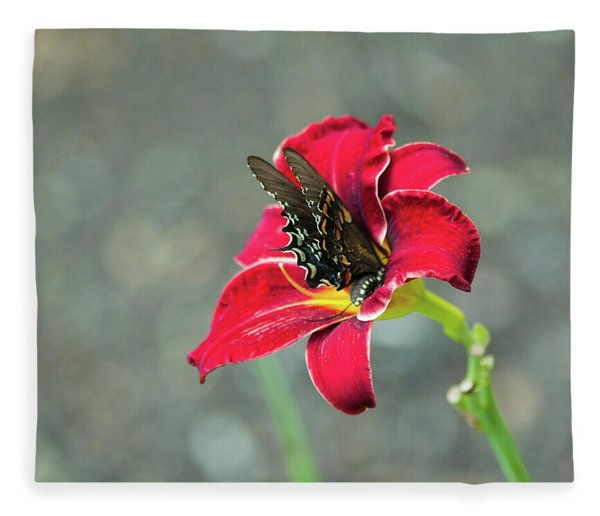 At One With The Orchid 2 Fleece Blanket
