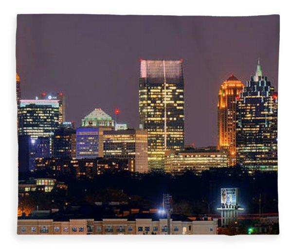 Atlanta Skyline At Night Downtown Midtown Color Panorama Fleece Blanket