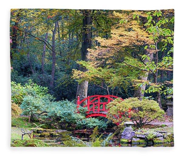 autumn  in Japanese park Fleece Blanket