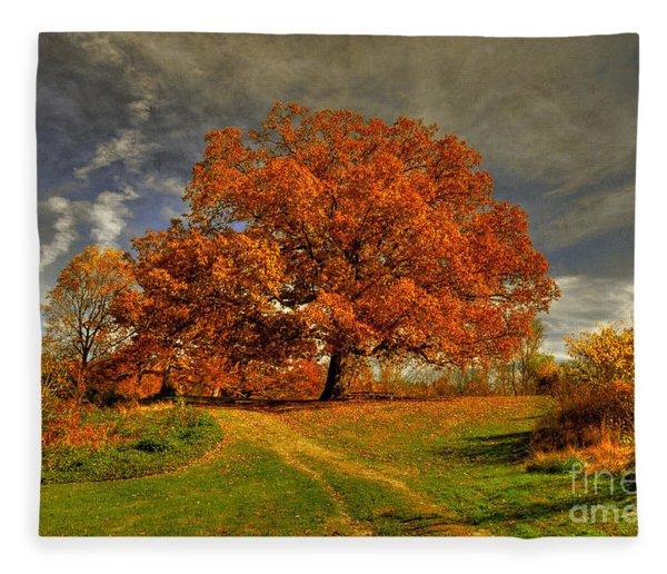 Autumn Picnic On The Hill Fleece Blanket