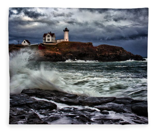 Autumn Storm At Cape Neddick Fleece Blanket