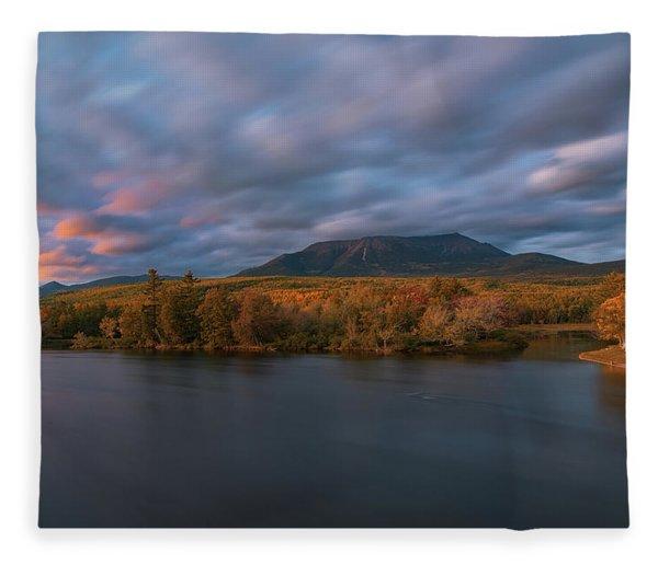 Autumn Sunset At Mount Katahdin Fleece Blanket