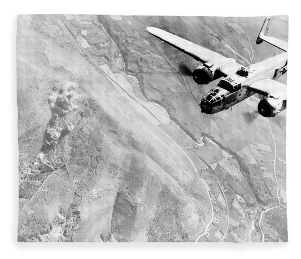 B-25 Bomber Over Germany Fleece Blanket
