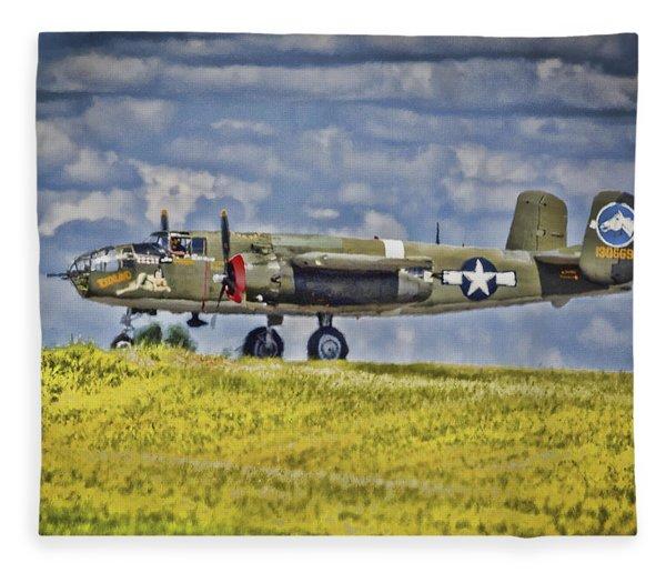 B-25 Landing Akron/canton Ohio Fleece Blanket