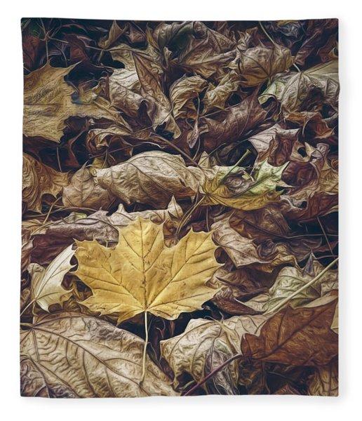 Backyard Leaves Fleece Blanket