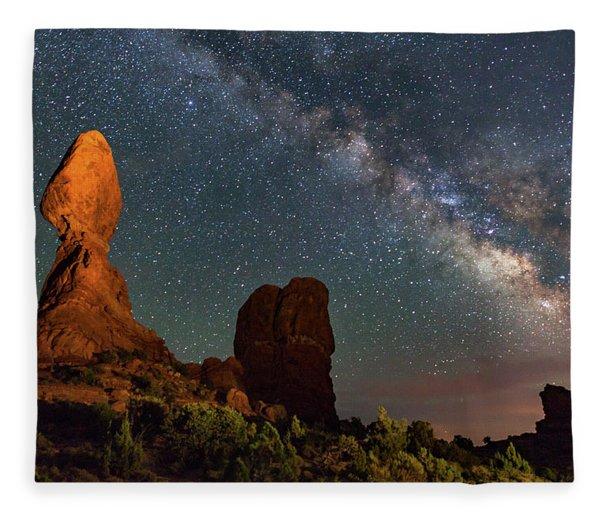 Balanced Rock And Milky Way Fleece Blanket