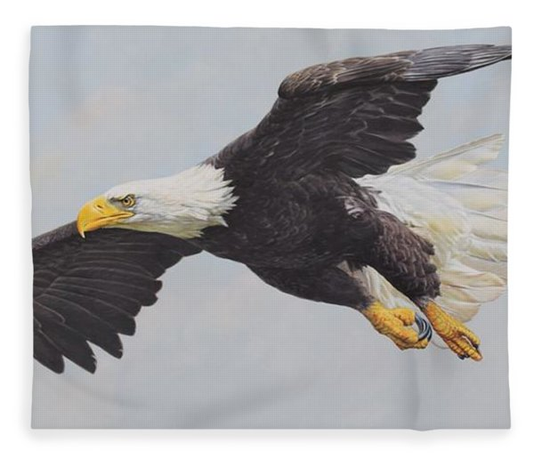 Fleece Blanket featuring the painting Bald Eagle by Alan M Hunt