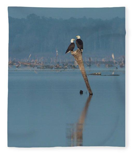 Bald Eagle Pair Fleece Blanket