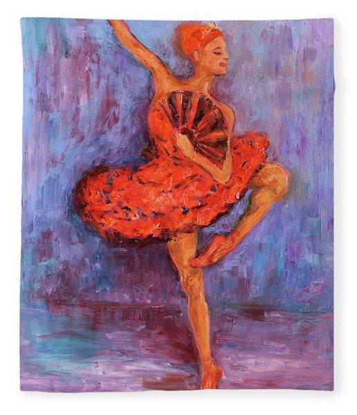 Ballerina Dancing With A Fan Fleece Blanket