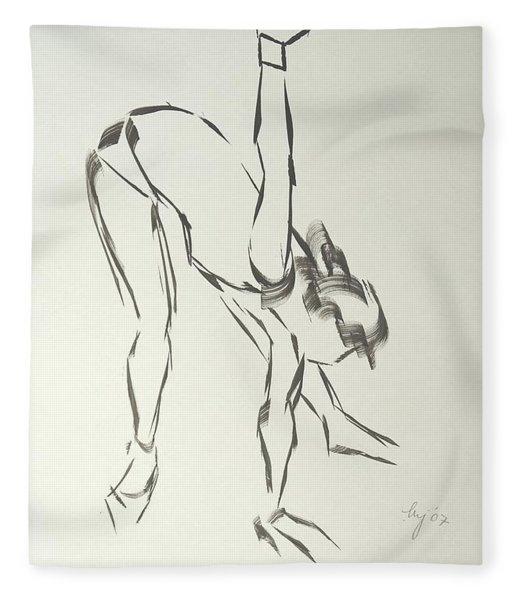 Ballet Dancer Bending And Stretching Fleece Blanket
