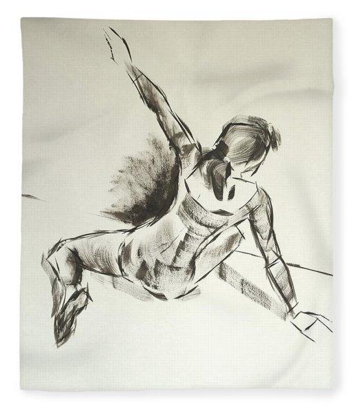 Ballet Dancer Sitting On Floor With Weight On Her Right Arm Fleece Blanket