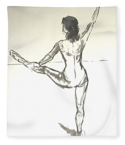 Ballet Dancer With Left Leg On Bar Fleece Blanket