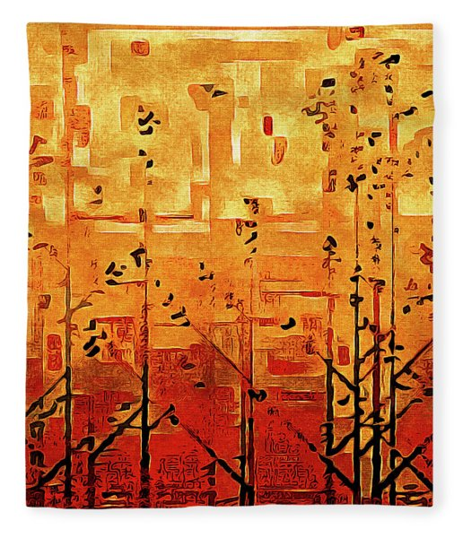 Fleece Blanket featuring the painting Bamboo by Susan Maxwell Schmidt