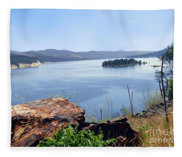 Baranaby Island Lake Roosevelt Fleece Blanket