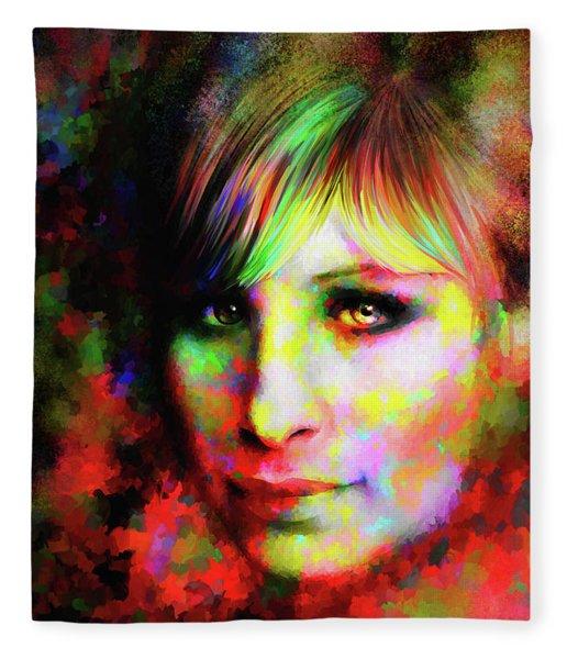 Fleece Blanket featuring the digital art Barbara Streisand by Matt Lindley