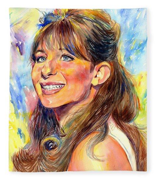 Barbra Streisand Young Portrait Fleece Blanket