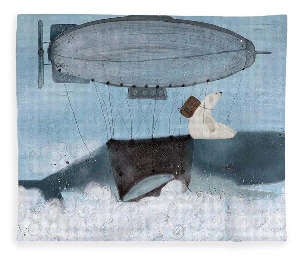 Barney And The Whale Fleece Blanket
