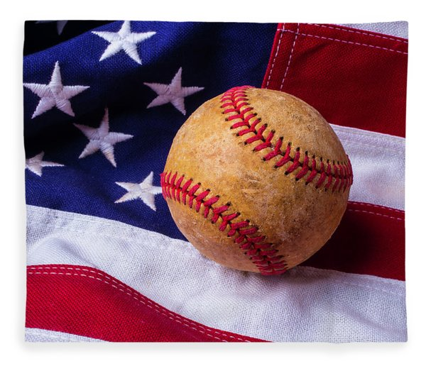 Baseball And American Flag Fleece Blanket
