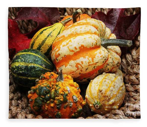 Basket Of Pumpkins Fleece Blanket