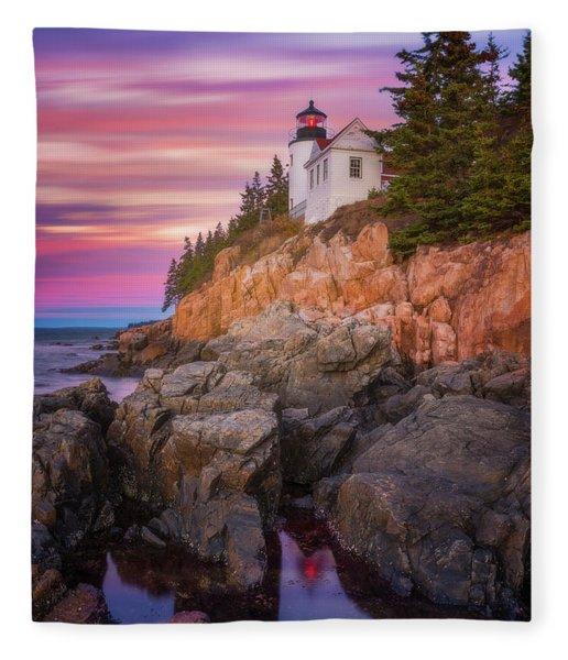 Bass Harbor Sunrise Fleece Blanket