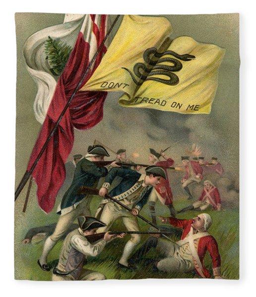 Battle Of Bunker Hill With Gadsden Flag Fleece Blanket