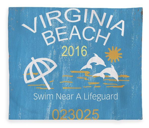 Beach Badge Virginia Beach Fleece Blanket