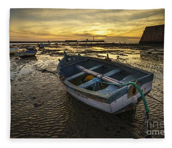 Beached Boat On La Caleta Cadiz Spain Fleece Blanket