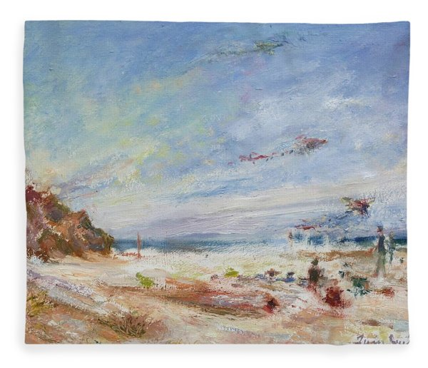 Beachy Day - Impressionist Painting - Original Contemporary Fleece Blanket
