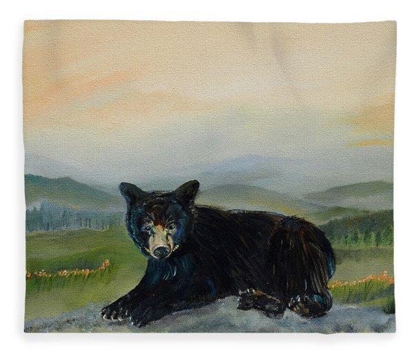 Bear Alone On Blue Ridge Mountain Fleece Blanket