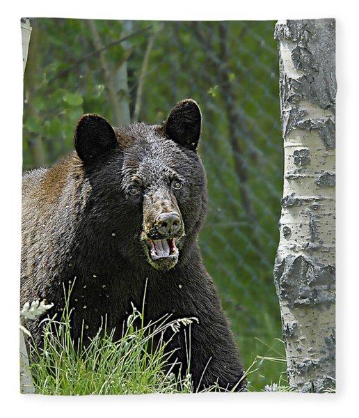 Bear In Yard Fleece Blanket