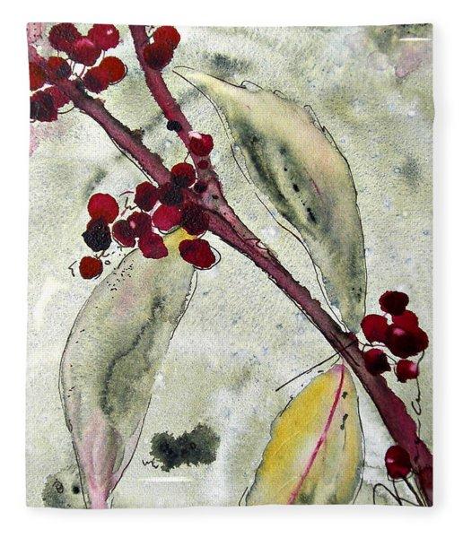 Beauty Berry Branch Fleece Blanket