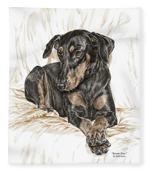 Beauty Pose - Doberman Pinscher Dog With Natural Ears Fleece Blanket