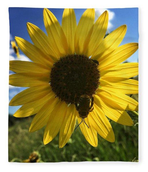 Bee And Sunflower Fleece Blanket