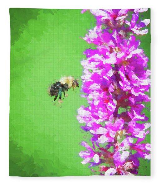 Bee Kissing A Flower Fleece Blanket