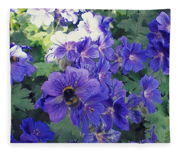 Bees And Flowers Fleece Blanket