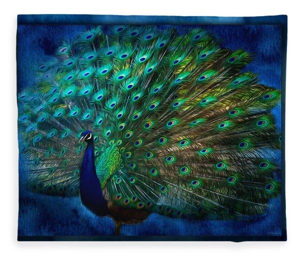 Being Yourself - Peacock Art Fleece Blanket