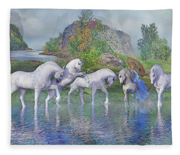 Benjamin's Velveteen Horses Fleece Blanket