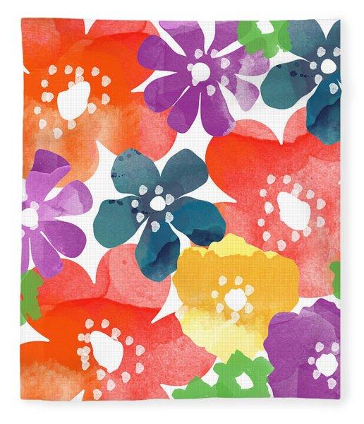 Big Bright Flowers Fleece Blanket