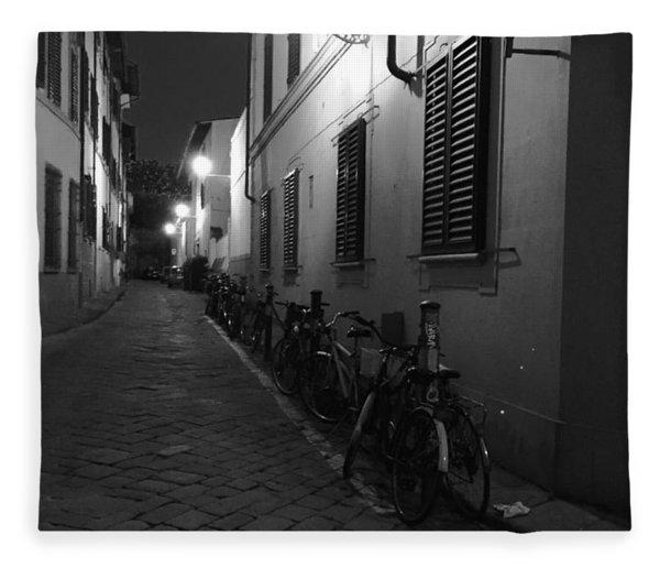 Bike Lined Alley Fleece Blanket