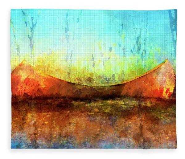 Birch Bark Canoe Fleece Blanket